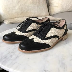 Stuart Weitzman leather rattan wingtip shoes